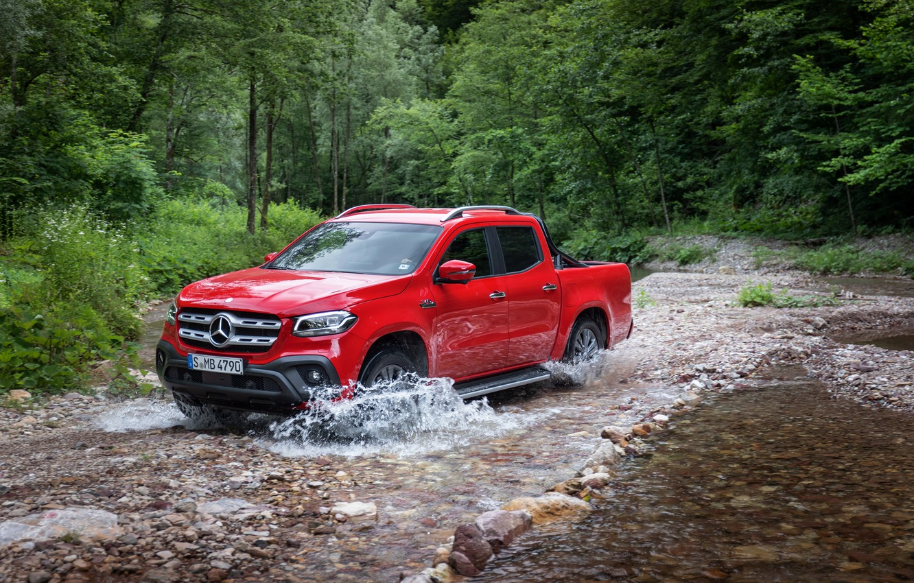Photo wallpaper forest, water, red, stones, Mercedes-Benz, pickup, 2018, X-Class