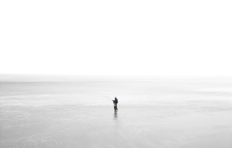 Photo wallpaper sea, nature, fisherman