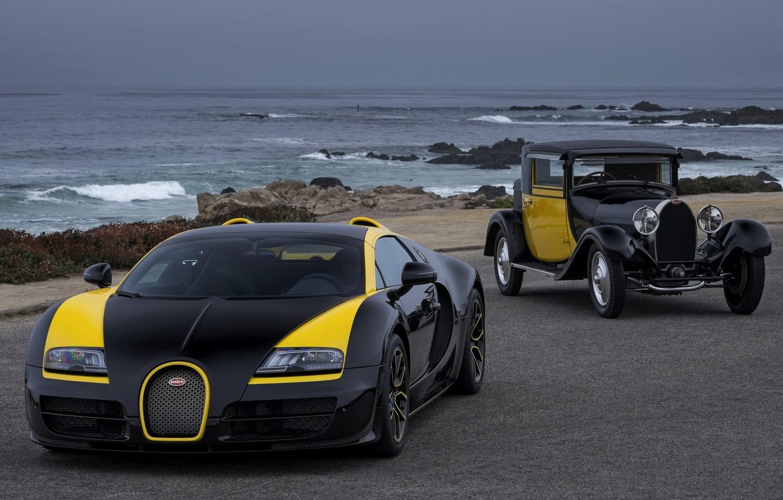 Photo wallpaper Bugatti, Veyron, on the shore, 2014, Veyron Grand Sport Roadster Vitesse One Of One