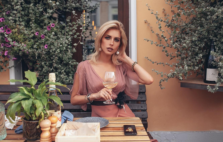 Photo wallpaper look, girl, flowers, style, wine, model, glass, cafe, restaurant, Rome Rome, Oksana Streltsova