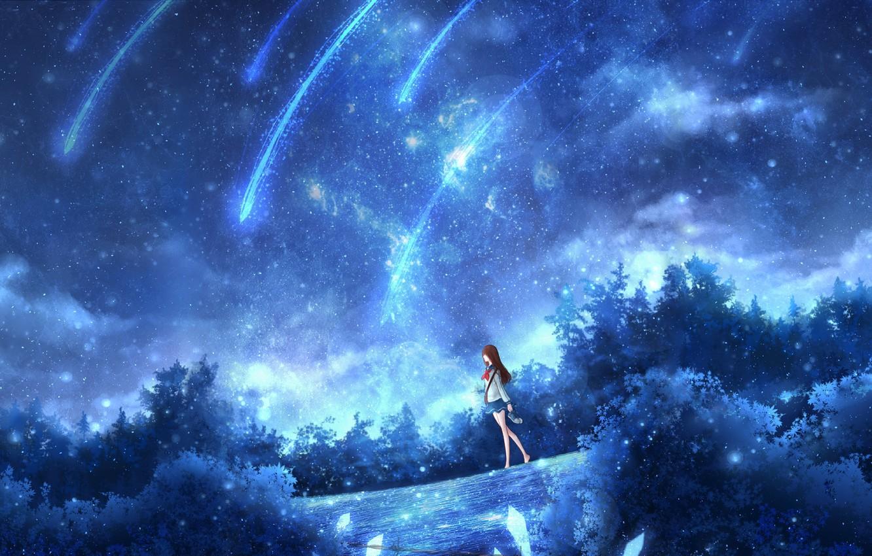 Photo wallpaper water, space, night, fiction, schoolgirl, OR