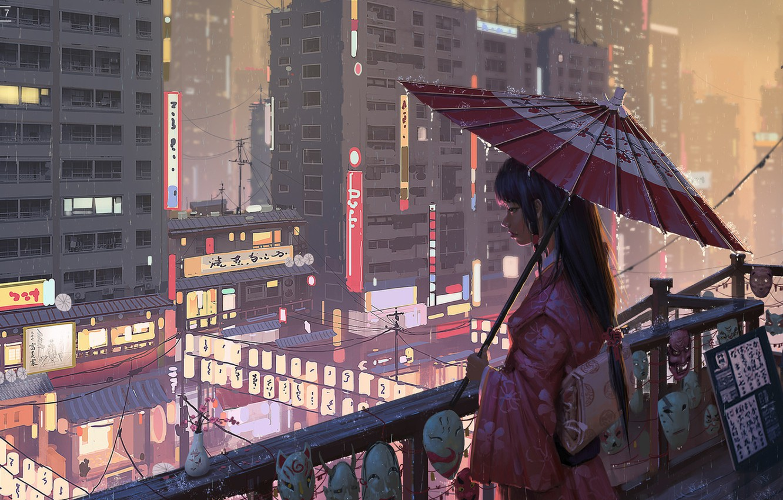 Photo wallpaper umbrella, Japan, lights, geisha, signs, kimono, mask, megapolis, night city lights, on the balcony, city …