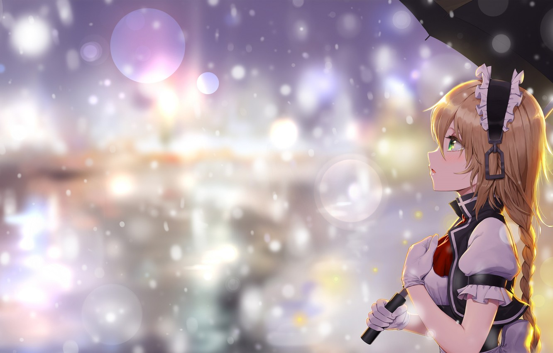 Photo wallpaper girl, background, umbrella, bokeh, Touhou