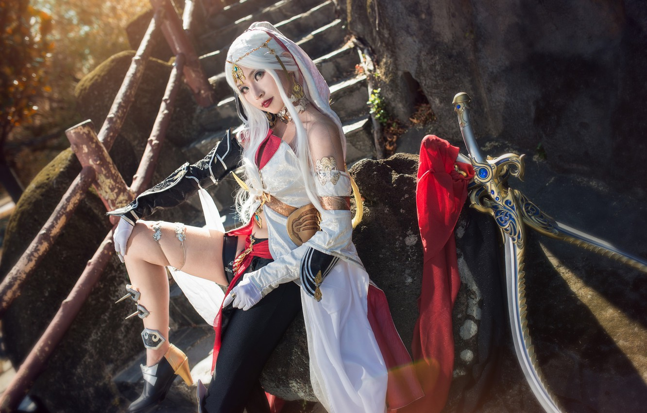 Photo wallpaper look, girl, light, decoration, face, pose, style, stones, weapons, feet, posts, sword, blonde, costume, ladder, …