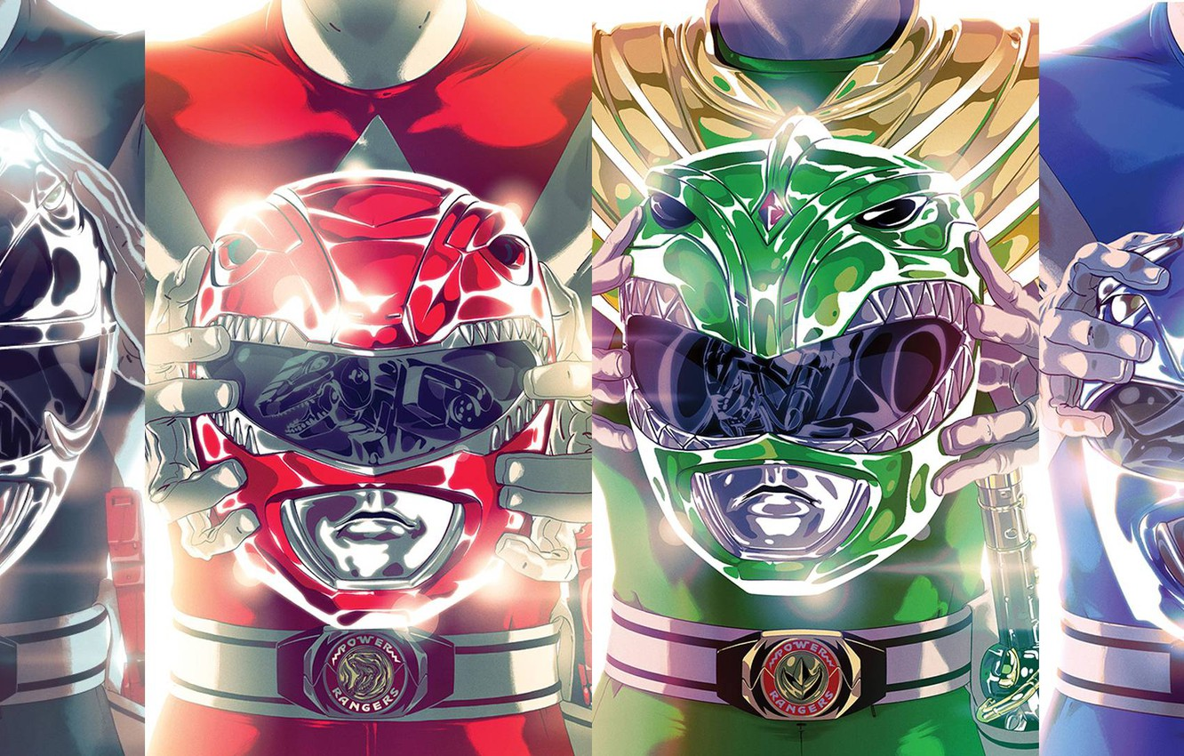 Photo wallpaper green, helmet, red, black, yellow, blue, pink, team, heroes, power rangers