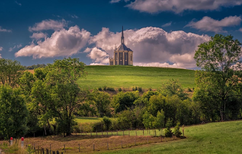 Photo wallpaper France, hill, Church, Doubs