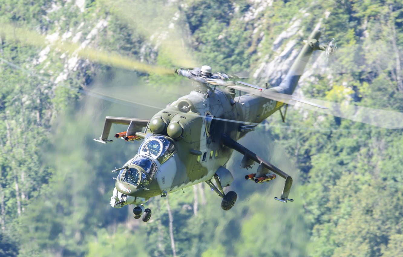 Photo wallpaper helicopter, Russian, shock, Mil Mi-35 Hind
