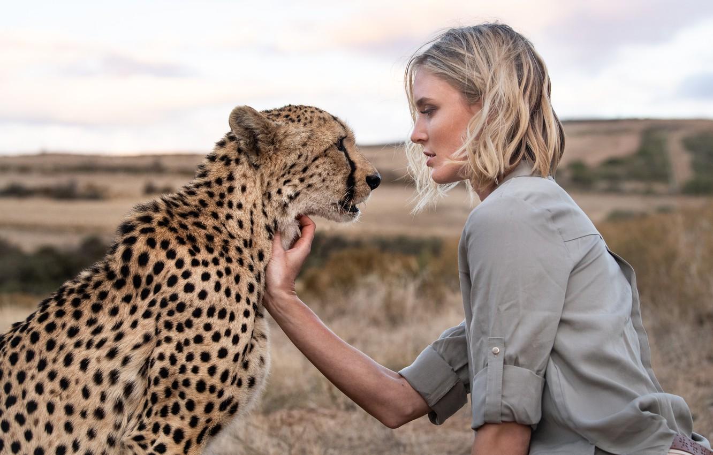 Photo wallpaper girl, meeting, Cheetah