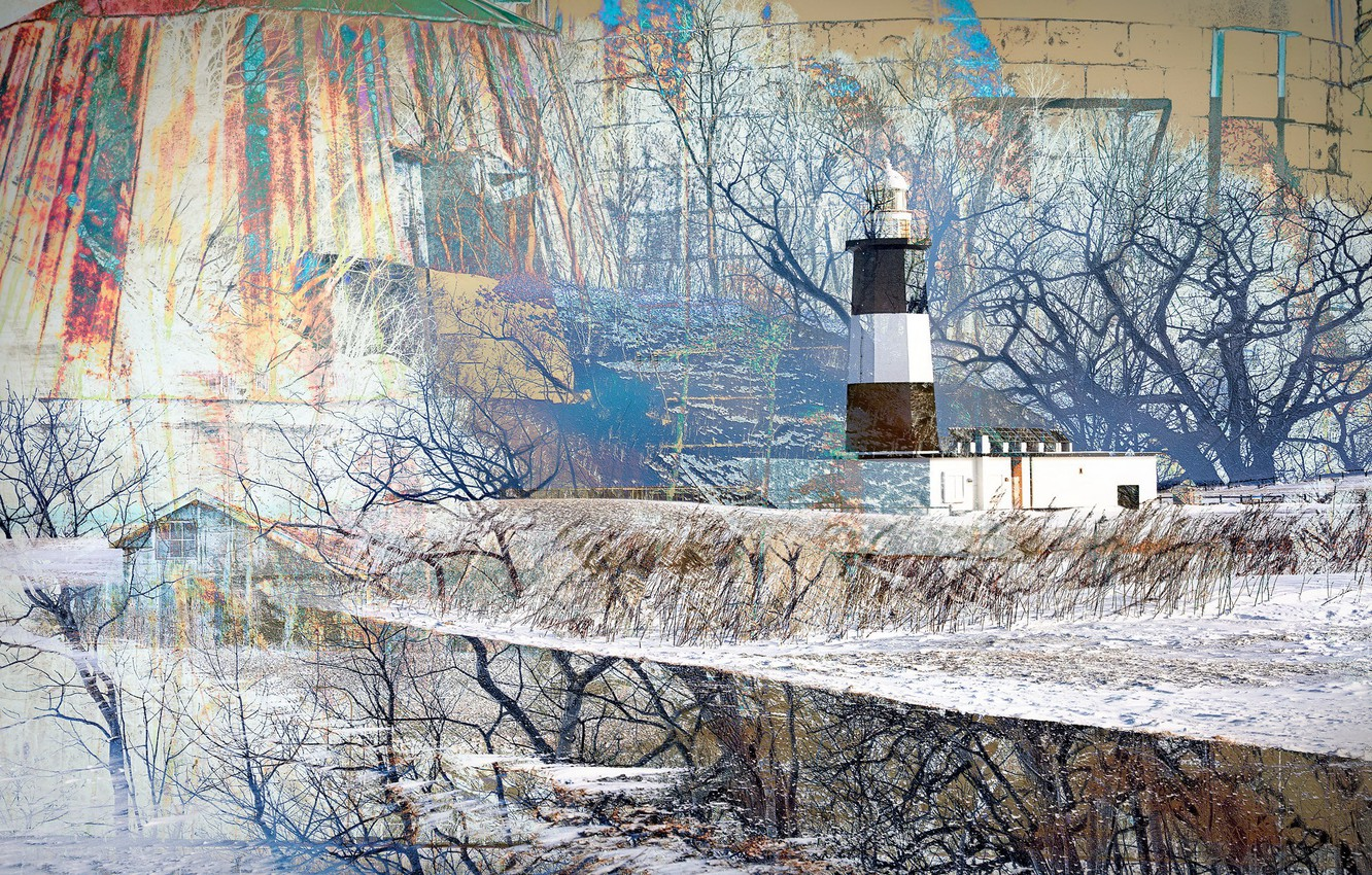 Photo wallpaper landscape, abstraction, lighthouse