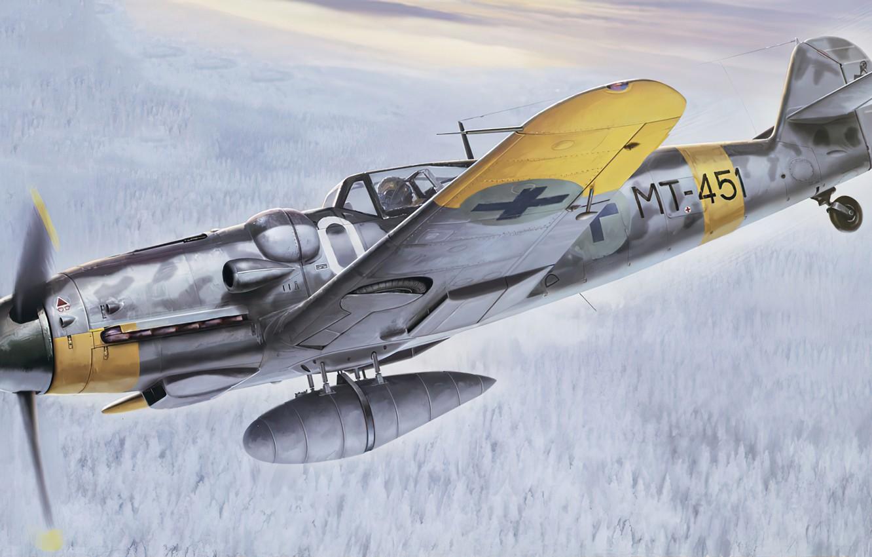 Photo wallpaper art, airplane, aviation, bf-109, ww2