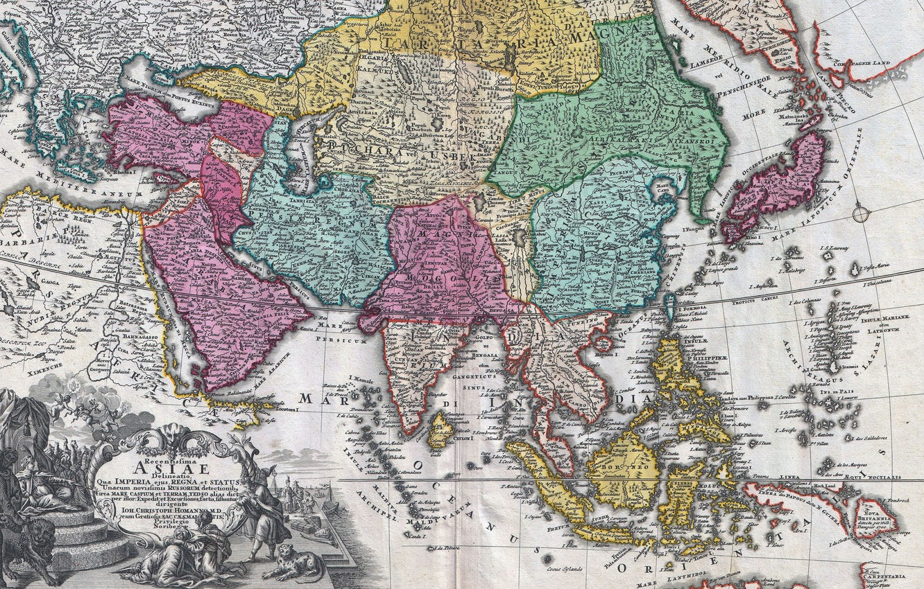 Photo wallpaper old maps, geography, 18th century map of Asia, Johann Christoph Homann, Map of Asia 18th …
