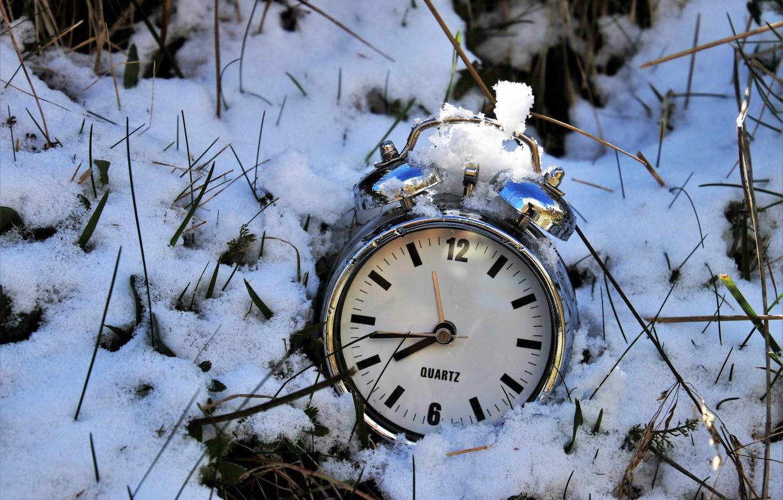 Photo wallpaper snow, time, watch, alarm clock
