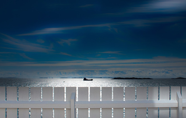Photo wallpaper sea, the sky, the fence, ship, Norway, North sea