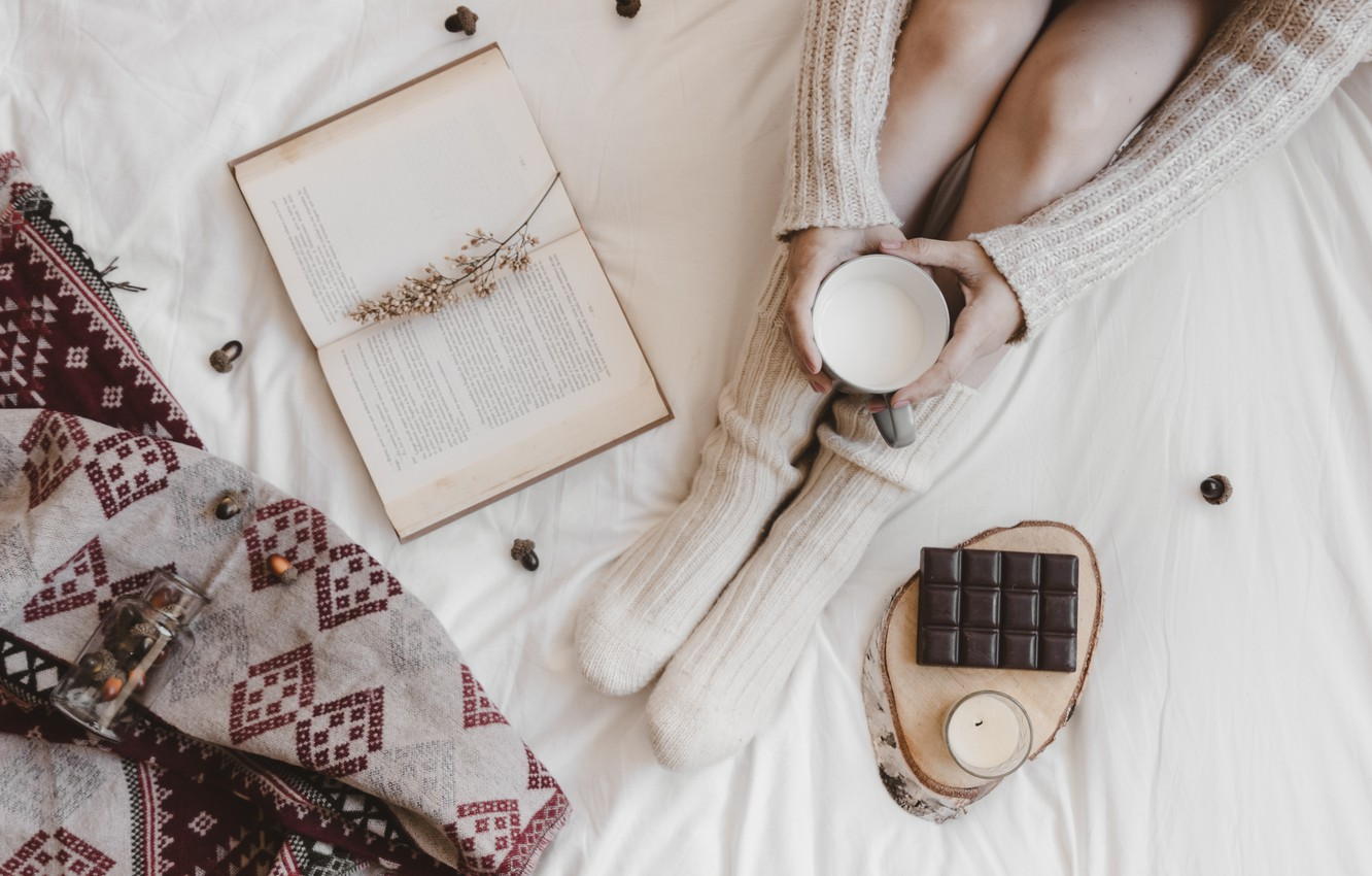 Photo wallpaper chocolate, morning, milk, book, woman, Chocolate, Breakfast in bed