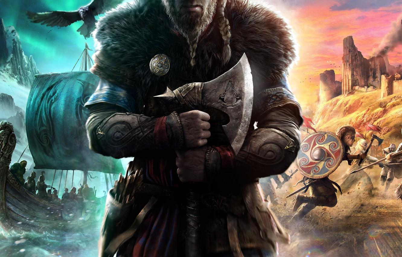 Photo wallpaper axe, ships, art, symbol, battle, axe, Raven, crow, ubisoft, battle, the Vikings, the protagonist, vikings, …