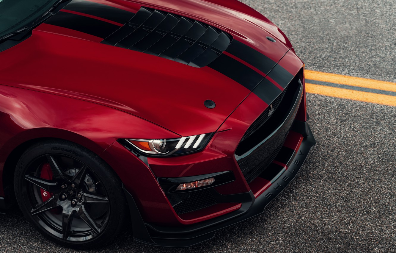 Photo wallpaper Mustang, Ford, Shelby, GT500, the hood, bloody, 2019