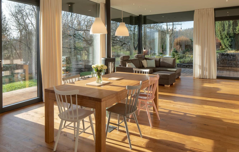 Photo wallpaper interior, living room, dining room, panoramic Windows