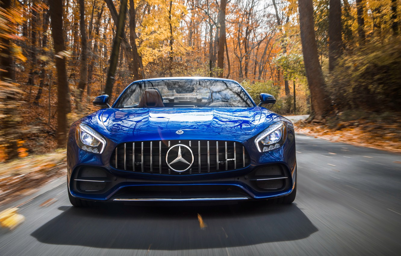 Photo wallpaper Roadster, Mercedes-Benz, front view, AMG, 2018, GT C
