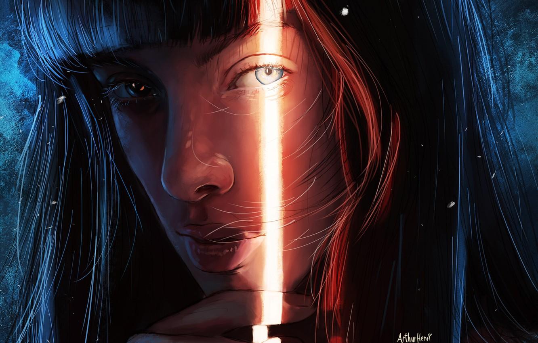 Photo wallpaper Girl, Figure, Look, Eyes, Lips, Light, Girl, Eyes, Art, Illustration, Characters, Arthur Henri, By the …