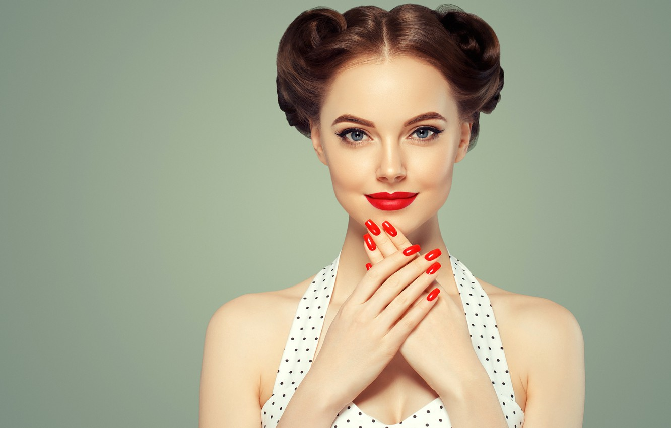 Wallpaper Look Face Style Hands Makeup Girl Hairstyle