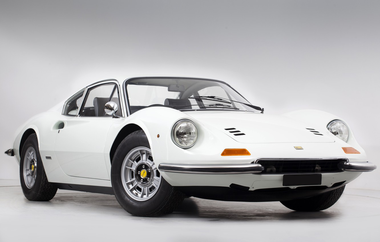 Photo wallpaper White, Retro, Sportcar, Ferrari Dino