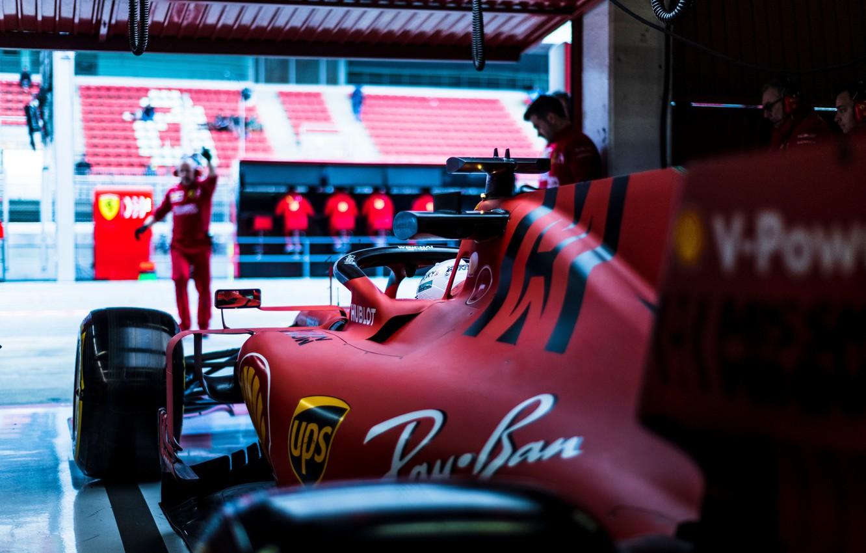 Photo wallpaper car, Ferrari, sport, box, Formula 1, tyres, men, Sebastian Vettel, SF90, Ferrari SF90