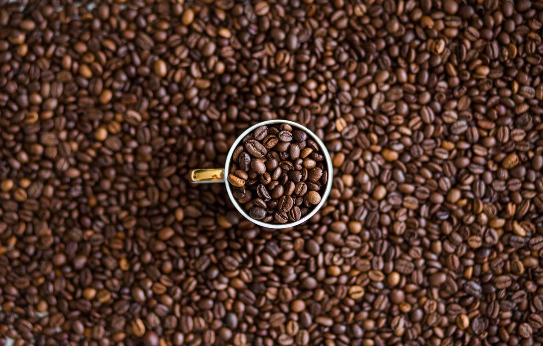Photo wallpaper Macro, Grain, Coffee, A bunch, Cup, A lot, Coffee beans, Coffee, Close-up, Grain, Grains, Roasted, …