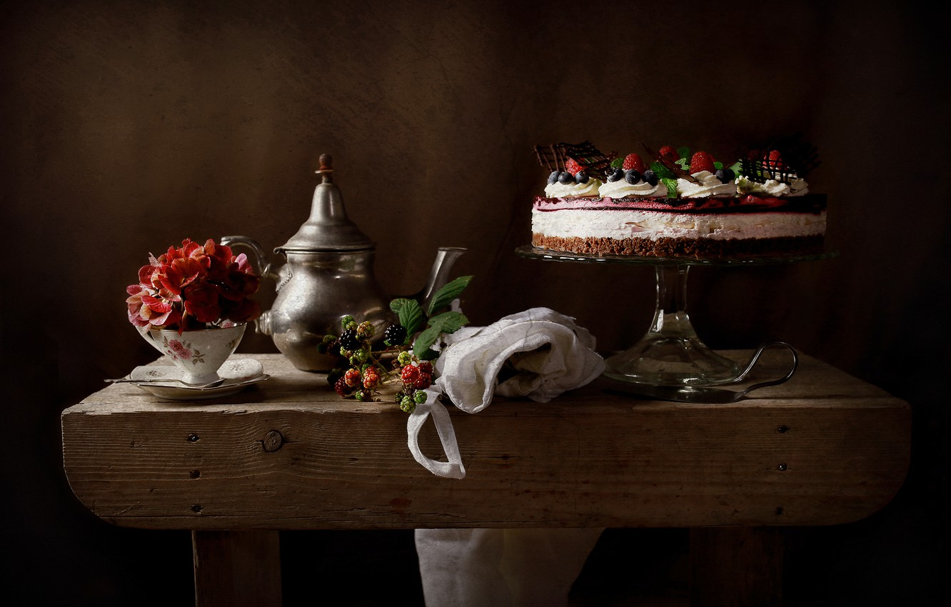 Photo wallpaper flower, style, berries, Cup, cake, still life