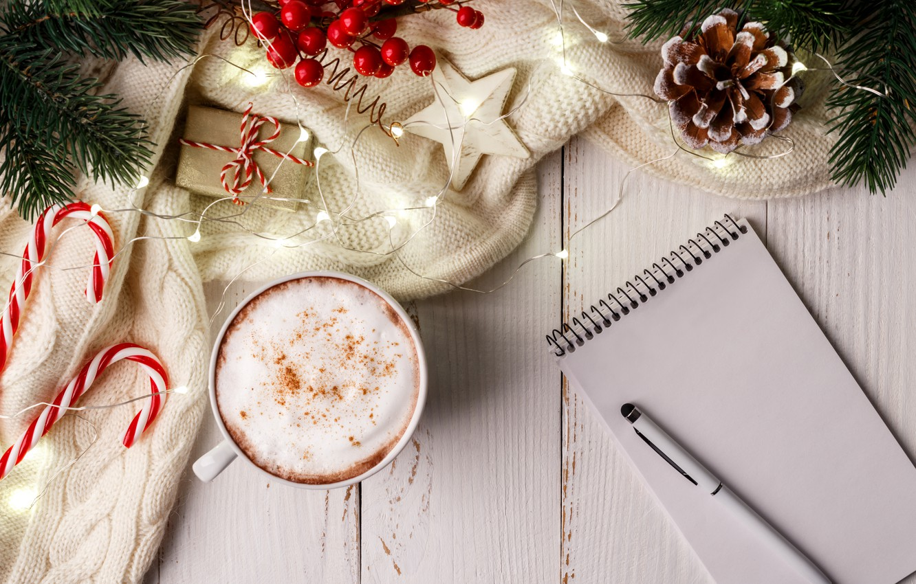 Photo wallpaper decoration, New Year, Christmas, mug, Christmas, cup, New Year, decoration, xmas, Merry, hot chocolate