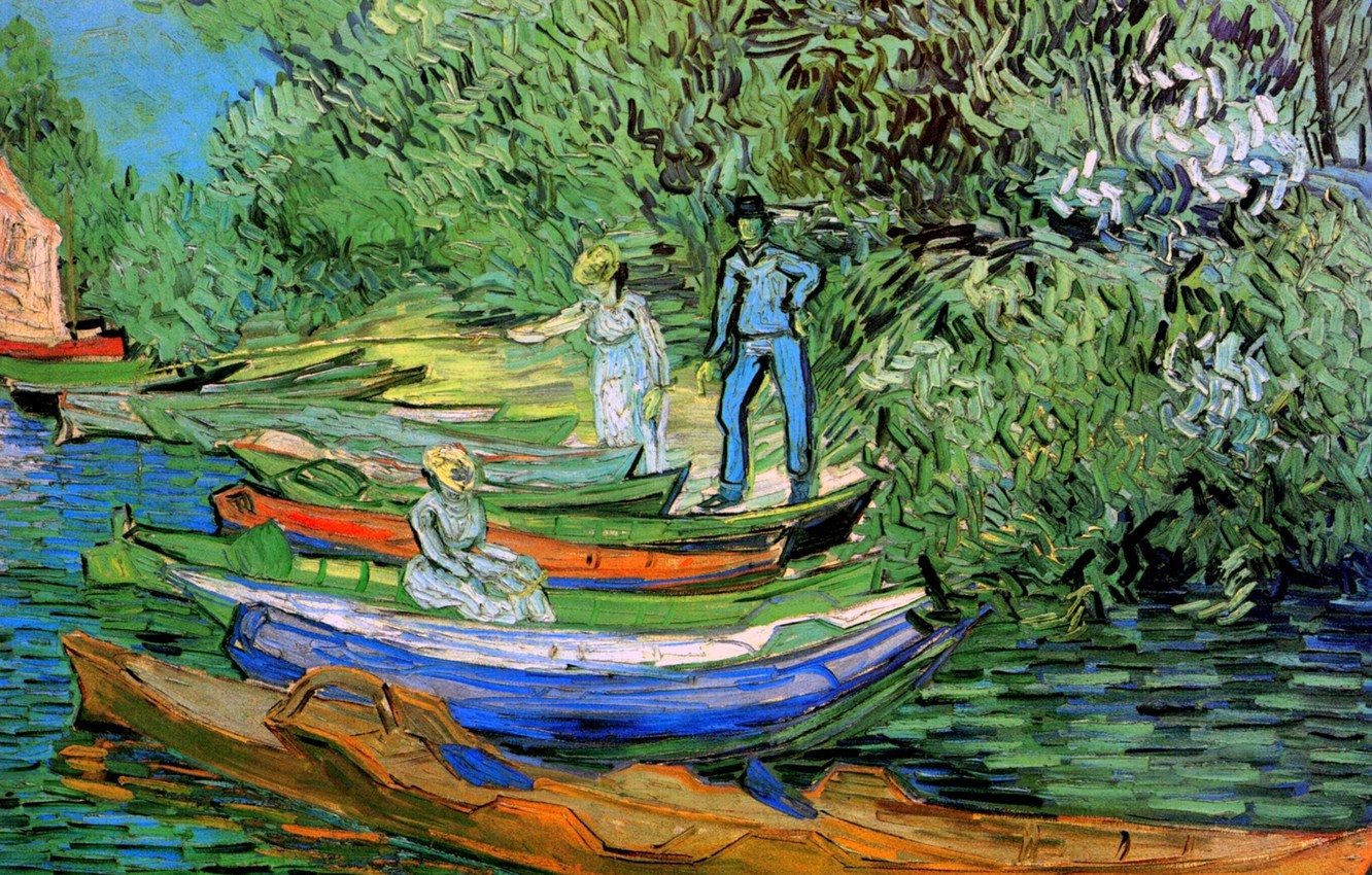 Photo wallpaper Vincent van Gogh, Auvers-sur-Oise, Bank of the Oise at Auvers