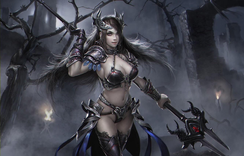 Photo wallpaper girl, warrior, fantasy, art