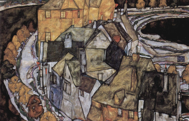 Photo wallpaper Home, Egon Schiele, or City island, standing arc