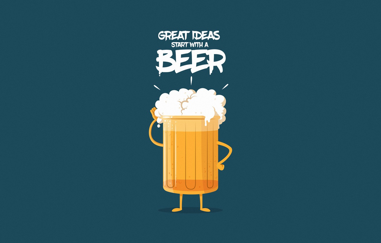 Photo wallpaper Minimalism, Beer, Glass, Background, Drink, Art, Illustration, Characters, Comic Art, Foam, Nothing like a GOOD …
