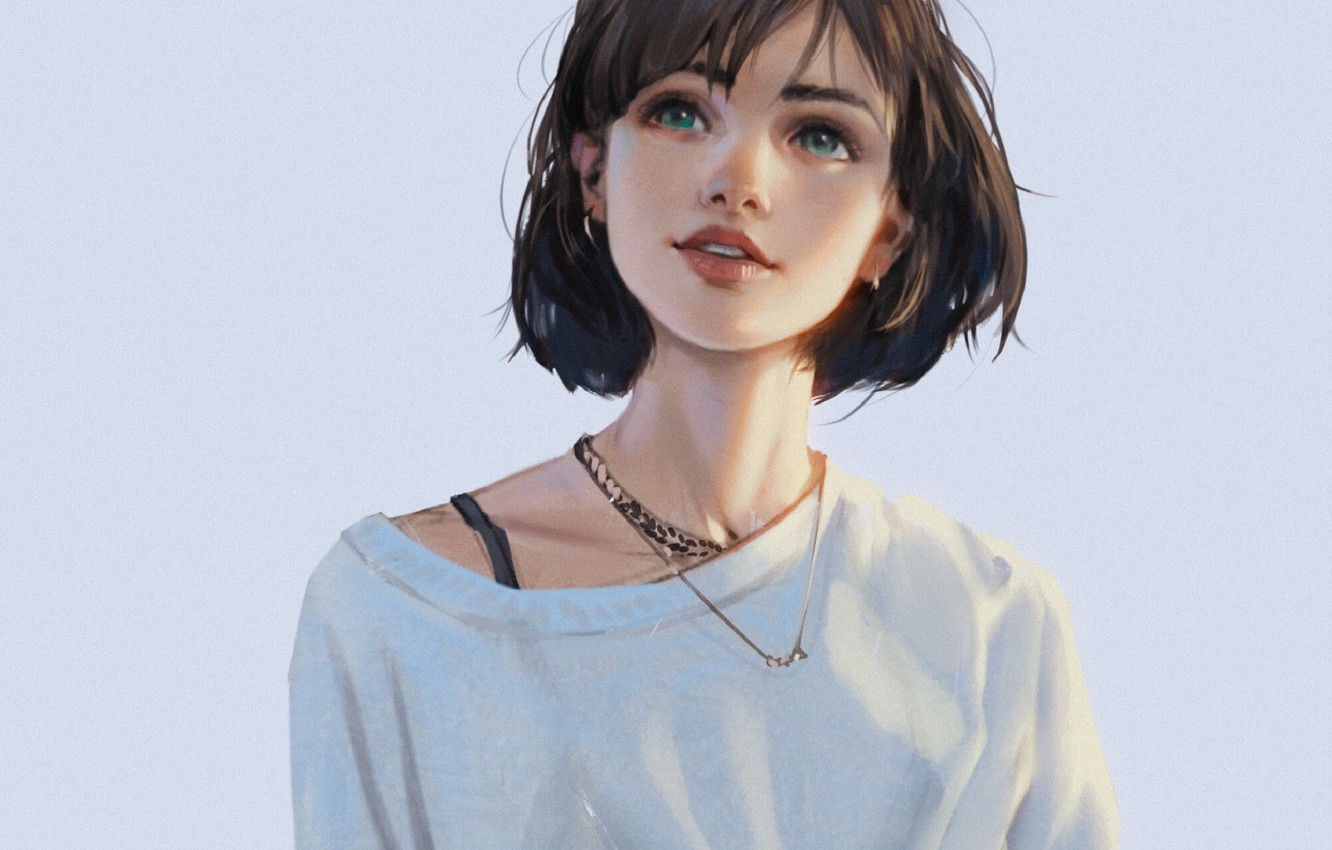Photo wallpaper smile, haircut, chain, blue background, earrings, looking up, bangs, portrait of a girl, white t-shirt, …