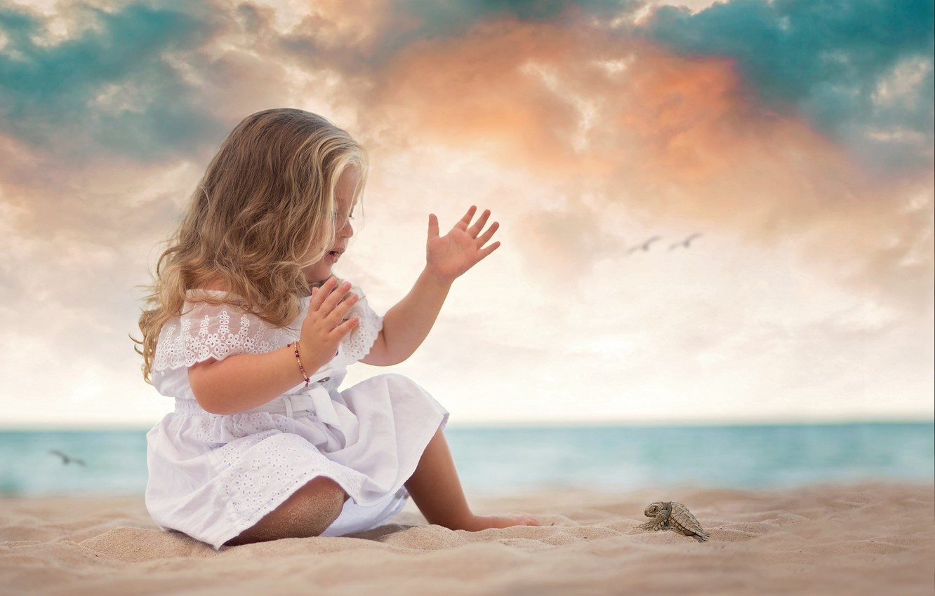 Photo wallpaper sand, sea, shore, dress, girl, baby, child, bug, a thousand will, Daniela Gabay