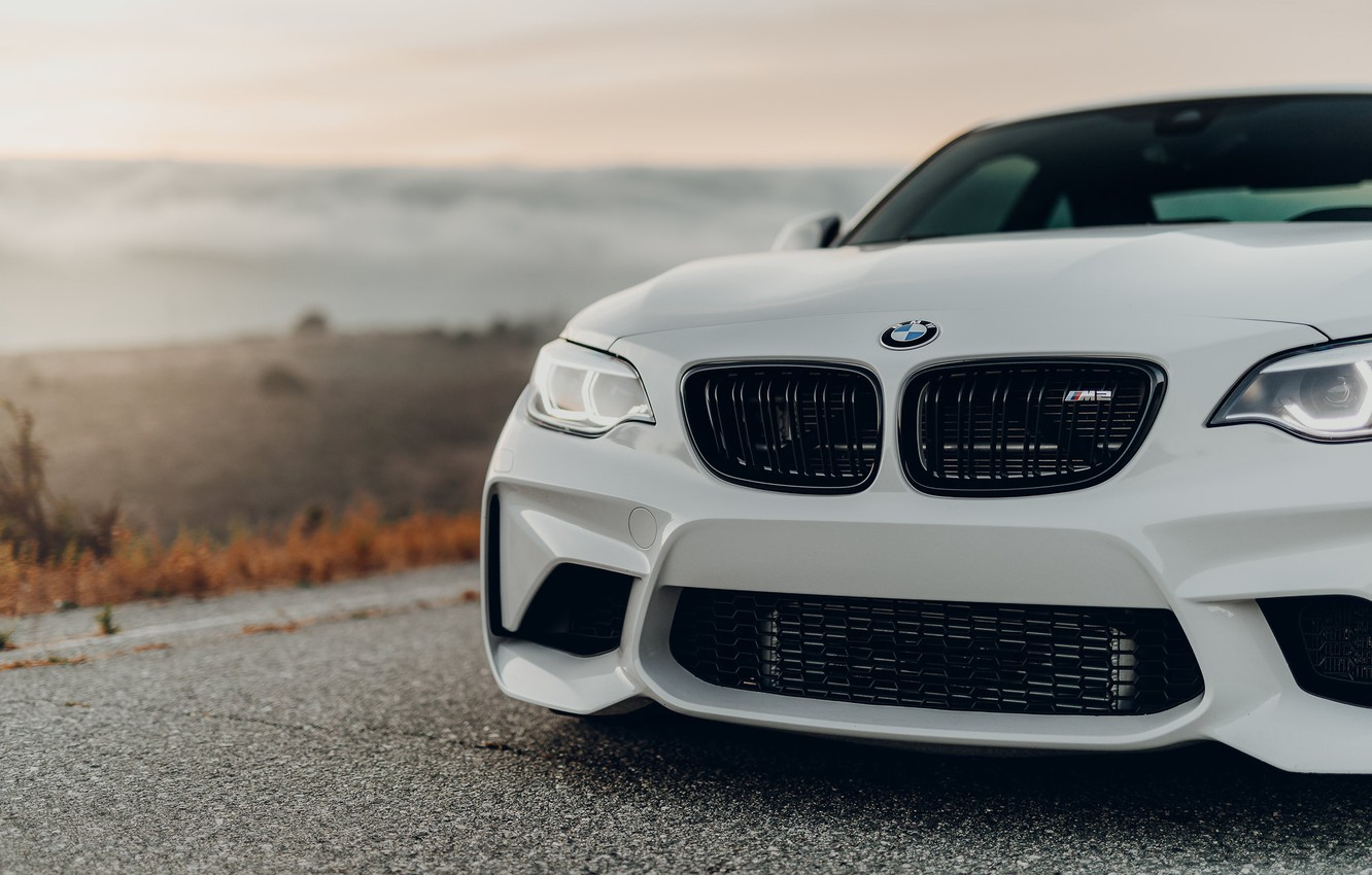 Photo wallpaper white, before, grille, F87, BMW M2