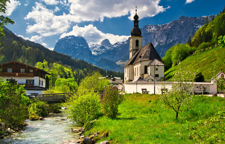 Photo wallpaper trees, mountains, bridge, house, river, Germany, Bayern, Church, Germany, Bavaria, Bavarian Alps, The Bavarian Alps, …