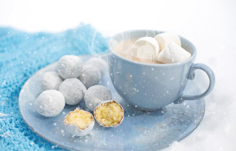 Photo wallpaper winter, macro, snow, comfort, mug, dessert, winter, snow, macro, cup, sweet, sweet, dessert, hot chocolate, …