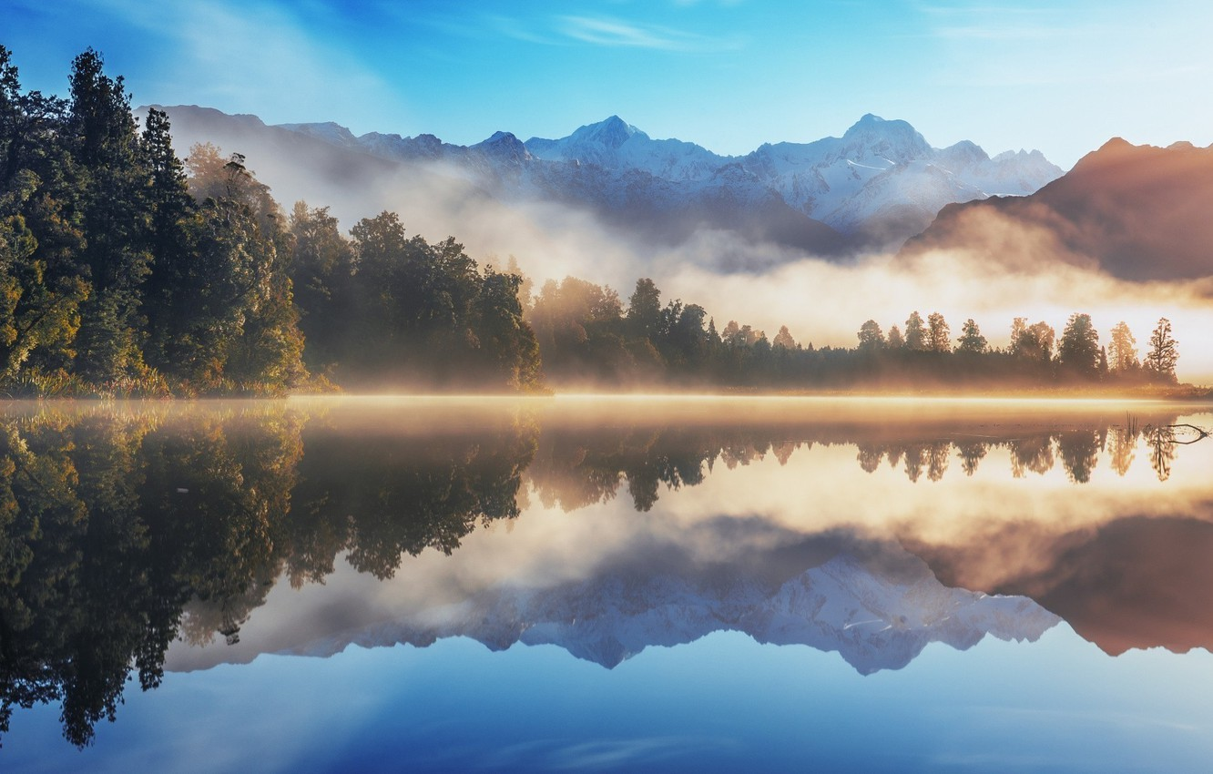 Photo wallpaper Reflection, Mountains, Fog, Lake, Morning, Dawn, Water Mirror
