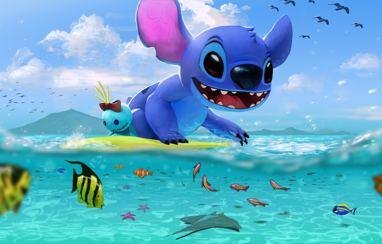 Photo wallpaper sea, art, Stitch, children's. summer, Stitch's day at the Beach, George Hernandez
