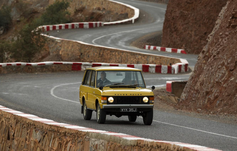 Photo wallpaper asphalt, Land Rover, Range Rover, 1970, mountain road, 4x4, SUV