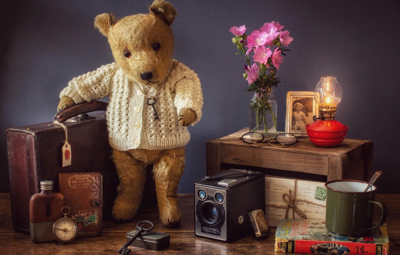 Photo wallpaper flowers, style, lamp, key, bear, glasses, mug, book, bear, suitcase, compass, vintage, Teddy bear, letters