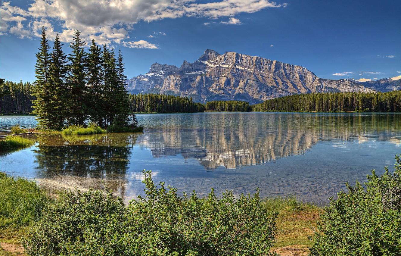 Photo wallpaper landscape, mountains, lake