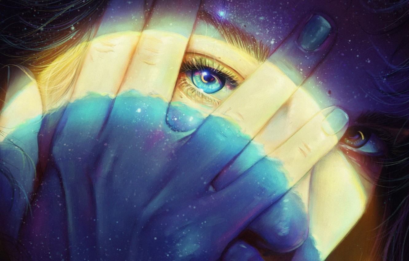 Photo wallpaper Girl, Figure, Look, Style, Hand, Face, Girl, Eyes, Style, Eyes, Fingers, Illustration, Face, Figure, Hand, …