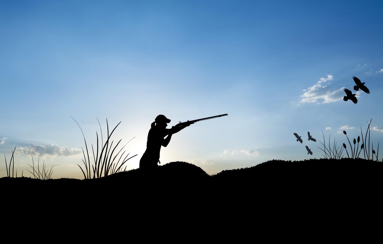 Photo wallpaper shotgun, ducks, hunting, female figure