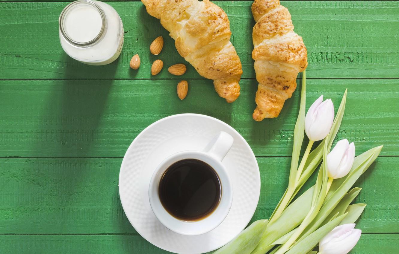Photo wallpaper coffee, tulips, croissants