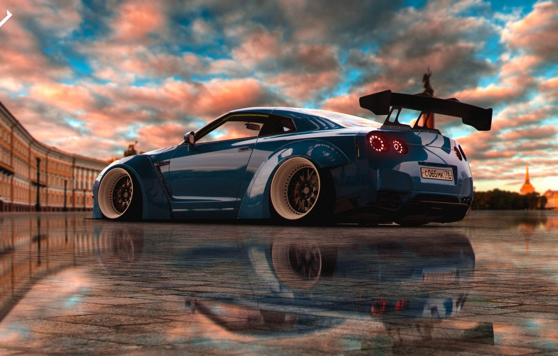 Photo wallpaper Auto, Blue, The city, Machine, Saint Petersburg, Nissan, GT-R, Art, Rendering, Concept Art, Nissan GT-R, …