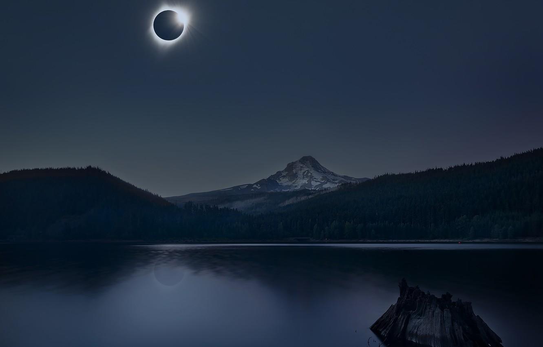 Photo wallpaper mountains, lake, The sun, Eclipse, eclipse, mountains, lake, sun, Annie Poreider