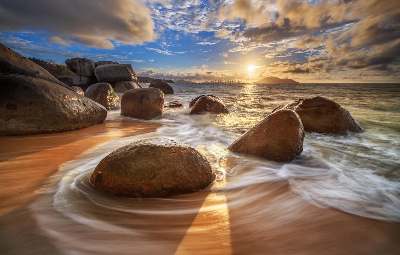 Photo wallpaper sea, the sky, stones, dawn, Bobby Bong