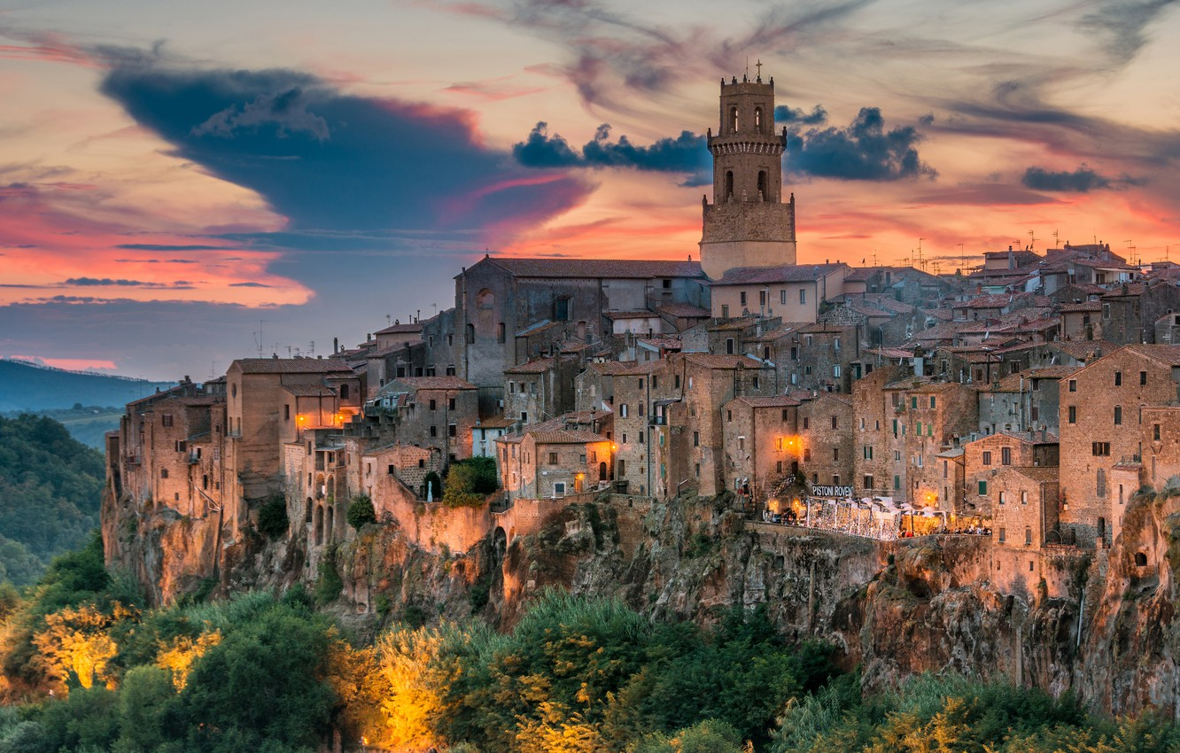 Photo wallpaper sunset, building, home, Italy, Italy, Tuscany, Tuscany, Pitigliano, Pitigliano